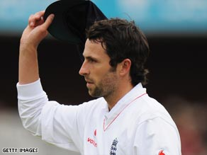 Onions takes the congratulations of the crowd after his five-wicket Test debut haul.