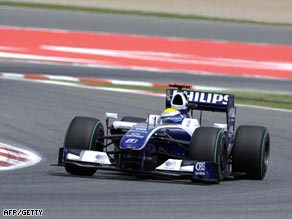 Rosberg powers to the fastest time in second practice at the Circuit de Catalunya.