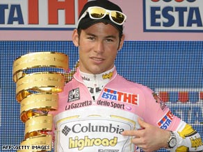 Cavendish sports the pink jersey after his team won the first stage of 92nd Giro d'Italia around Venice's Lido.