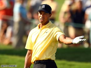 Tiger Woods has struggled at the TPC, falling seven shots off the leader Alex Cejka.