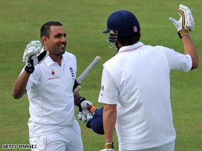 Bopara (left) and Cook took the West Indies attack apart on the opening day of the second Test.