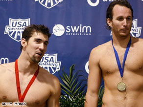 Michael Phelps finished second in the men's 100m backstroke final in Charlotte, North Carolina.