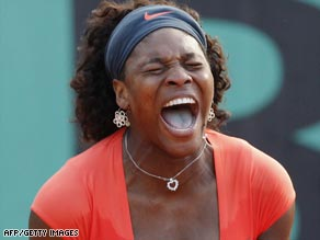 Williams cannot hide her relief after finally securing victory over Klara Zakopalova at Roland Garros.