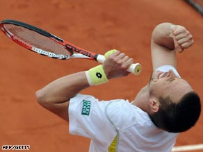 Nadal looks crestfallen as Soderling claims victory at Stade Roland Garros.