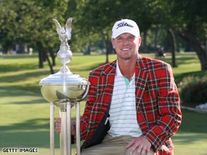 Stricker sports the winning trophy after his Colonial playoff win.