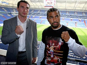 Briton Haye, right, has withdrawn from their his clash with Klitschko after suffering an injury in training.