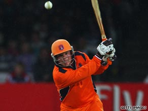 Tom de Grooth smashed 49 for the Netherlands as they claimed a stunning victory over England.