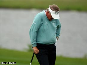 Montgomerie endured a miserable afternoon in the rain at Celtic Manor.