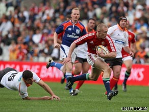 Ireland's Keith Earls powers over for the Lions' second try in their victory over the Cheetahs.