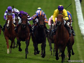 Sea The Stars (yellow) cruises away from the field to add the Epson Derby to his 2000 Guineas success.