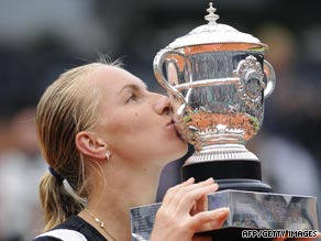 Kuznetsova kisses the French Open trophy after her comprehensive victory over Dinara Safina.