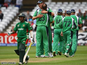 Ireland players jubilate on their way to reaching the Super Eights at the World Twenty20 cricket.