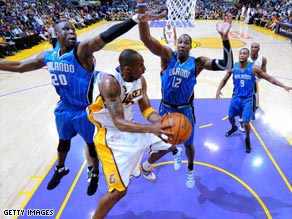 The L.A. Lakers in battle with the Orlando Magic