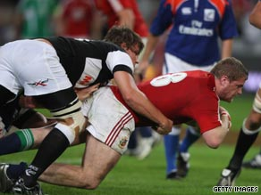 Jamie Heaslip goes over for the British Lions' final try in their victory over the Sharks on Wednesday.