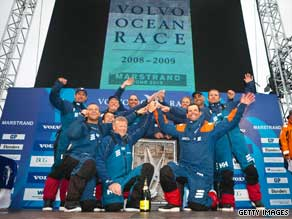 The crew of Ericsson 4 celebrate after winning the eighth leg of the Volvo Ocean Race