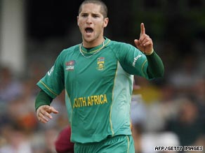 Wayne Parnell celebrates one of his wickets as South Africa proved too strong for the West Indies.