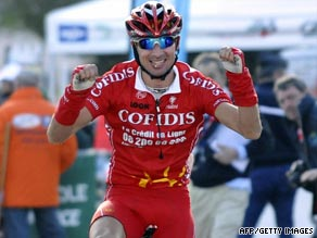 Moncoutie held on to finish first in the mountainous seventh stage of the Dauphine Libere.