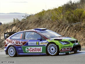 Hirvonen's Ford Focus looks poised to complete victory in the Acropolis Rally on Sunday.