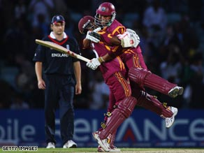 Ramnaresh Sarwan and Shivnarine Chanderpaul jubilate after West Indies reach the World Twenty20 semis.