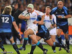 Brussow makes a typical charge in a Super 14 match for the Cheetahs.