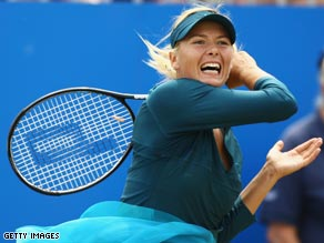 Sharapova powers a forehand during the WTA tournament in Birmingham last week.