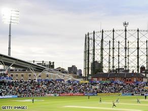 The Oval cricket ground under floodlights.