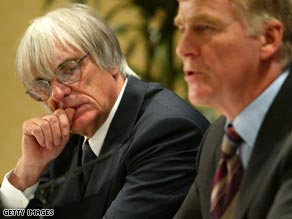 Bernie Ecclestone (left) Max Mosley (right).