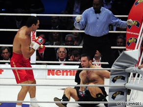 World heavywright champion Klitschko leaves Chagaev on the canvas on his way to retains his titles.