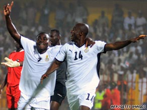 Matthew Amoah (right) celebrates the second of his goals in Ghana's 2-0 victory in Sudan.