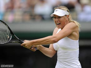 Sharapova powers a backhand during her straight sets win over Kutusova.