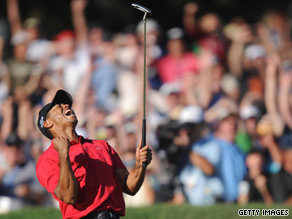 Tiger Woods celebrates his triumph over pain with victory in the 2008 U.S. Open