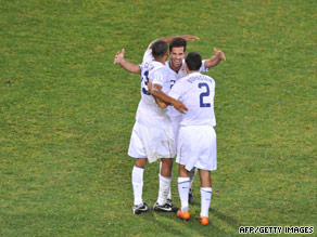 U.S. defender Jonathan Bornstein (2) and midfielders Ricardo Clark and Benny Feilhaber celebrate Wednesday.