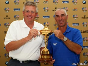 Colin Montgomerie (left) and Corey Pavin will captain the two teams for the 2010 Ryder Cup.