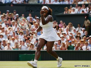Serena Williams celebrates her stunning semifinal victory over Russian Elena Dementieva.
