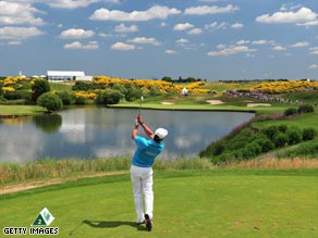 Third round leader Echenique tees off at Le Golf National.