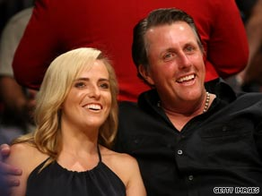 Phil Mickelson's mother has been diagnosed with cancer, just two months after wife Amy (left) was diagnosed.