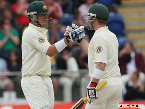 Marcus North (left) and Brad Haddin helped guide Australia to a 239-run lead after day four of the first Test.