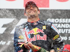 The Australian driver dominated at the Nurburgring in a second successive 1-2 finish for Red Bull.