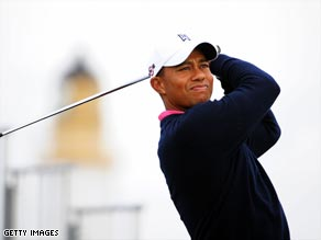 Woods was out early at Turnberry on  Monday for his practice round.