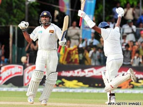 Sri Lanka batsmen Mahela Jayawardene, left, and Thilan Samaraweera celebrate their victory in Colombo.