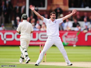 Anderson celebrates the prize wicket of Ponting at Lord's on the second morning.