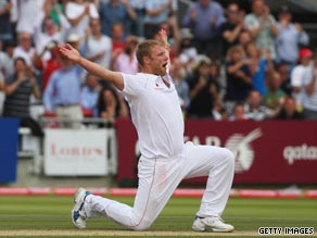 Andrew Flintoff celebrates taking another wicket as England go 1-0 ahead in the five-Test Ashes series.