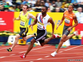 Tyson Gay powers off the bend on his way to 200m victory in the London Grand Prix.