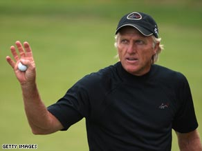 Greg Norman powered into the lead at the British Senior Open with a 64.