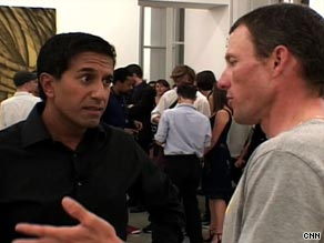 Sanjay Gupta interviews Lance Armstrong in Paris shortly after the end of the Tour de France.