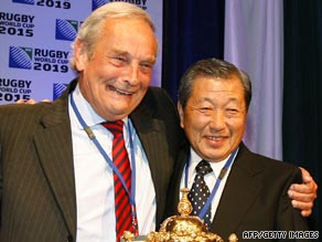 Representatives from the England and Japan rugby board's celebrate hosting the next two World Cups.