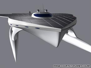 """Planet Solar"" will be the world's largest, fastest fully solar-powered boat and is projected to cross the Atlantic in two weeks."