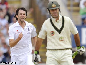 Onions is delighted after sending back Australian captain Ricky Ponting for 38.