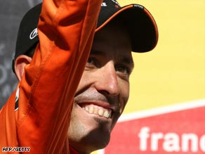 Astarloza was all smiles after winning the mountainous 16th stage of the Tour de France.