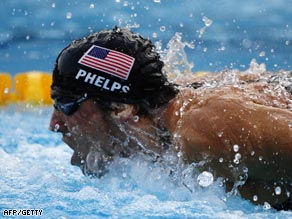 Phelps swaw a superb fly leg for the U.S. as they broke the world record.